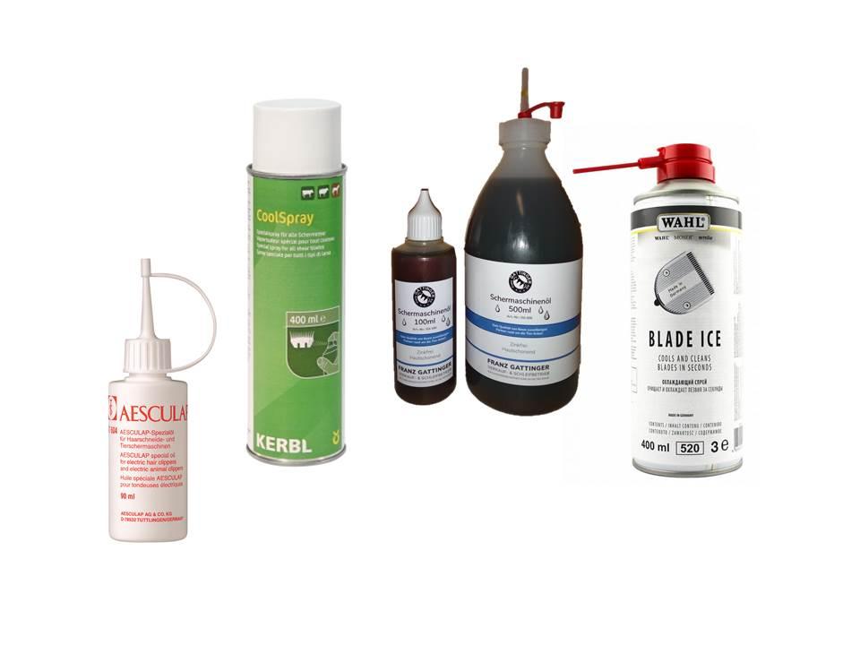 Schermaschinenöl, Schmierstoffe, Kühlsprays