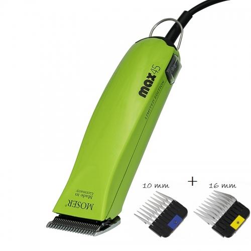 MOSER Max45 1245 Hundeschermaschine mit Messer-Satz 1 mm + 2 hochwertige Wahl Aufsteckkämme * Limited Edition
