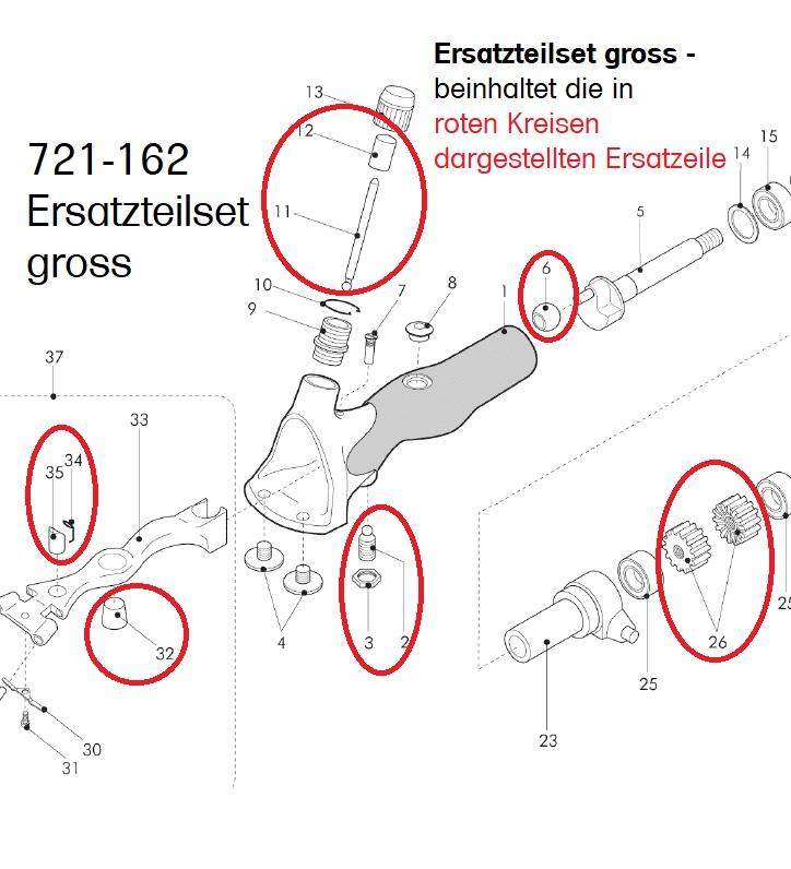 Ersatzteilset groß OMEGA 94 / Icon Pos. 2 / 3 / 6 / 11/ 12 / 26 / 32 / 34 / 35
