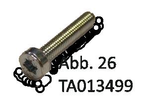 Schrauben mit Innensechskant für unteres Gehäue Torx-Schraube SN4850, M3x16, TX 8,8 Vz, Abb. 26
