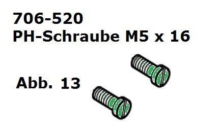 PH-Schraube M5 x 16 (2 Stück)  für Handy (HC)/Cordless (Battery Clipper)/USV (VS-84)/C12/Delta3/Progress/Xperience/Xplorer