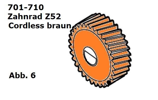 Zahnrad Z52 braun für Cordless (Battery Clipper)