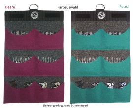 Hochwertige Filz-Kammtasche (Comb Pouch) / Schermessertasche zur Aufbewahrung von 4-8 Unterkämmen u. 4-12 Obermesser mit Farbauswahl!