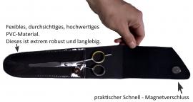 fireCut Echtleder Scherenetui / Scherentasche Gr. 4 (large), mit praktischem Sichtfenster, made in Germany