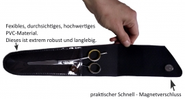 fireCut Echtleder Scherenetui / Scherentasche Gr. 3 (middle), mit praktischem Sichtfenster, made in Germany
